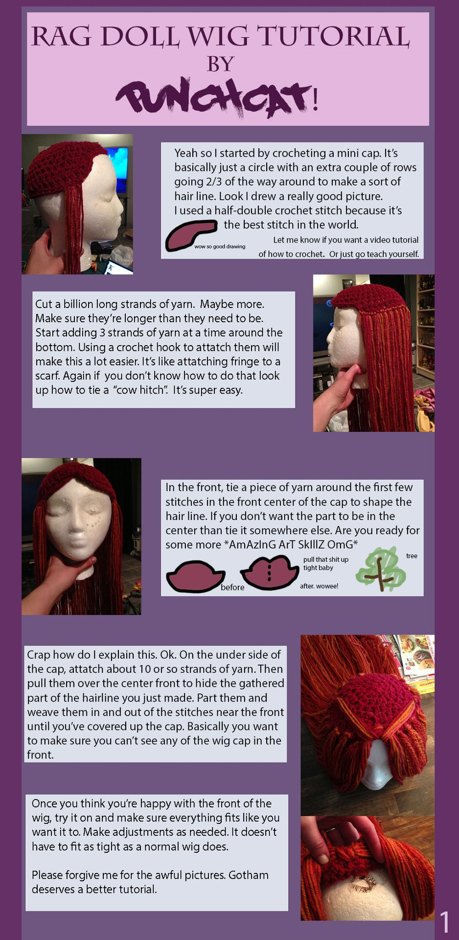 Yarn Wig Tutorial Ykca Yarn Wig Crochet Wigs