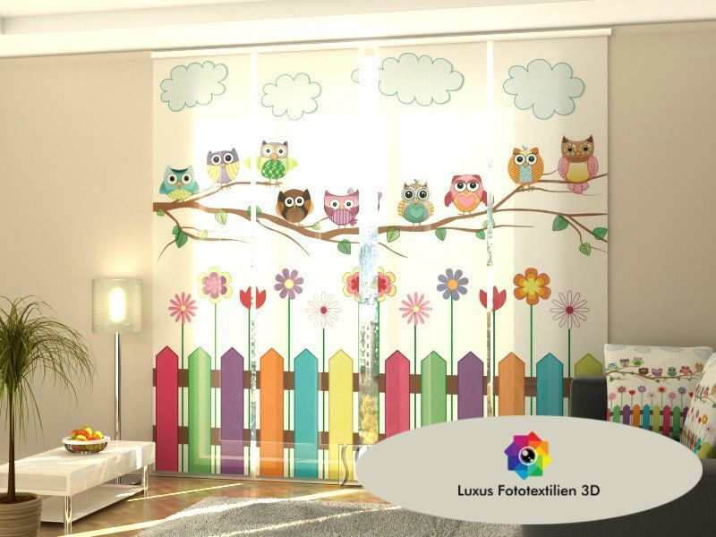 Schiebegardine bunte eulen schiebevorhang 4 set luxus for Schiebegardine kinderzimmer