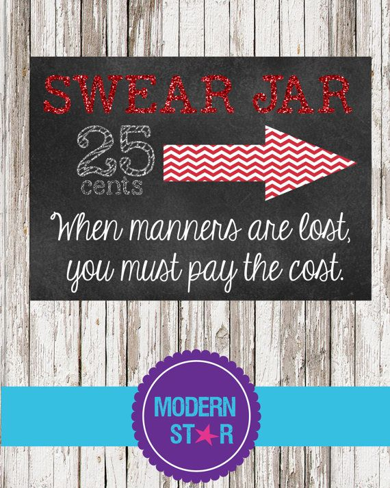 Cute Swear Jar Sign 5x7 Digital Printable Diy By Modernstarprint 5 00 Swear Jar Cute Crafts Family Crafts