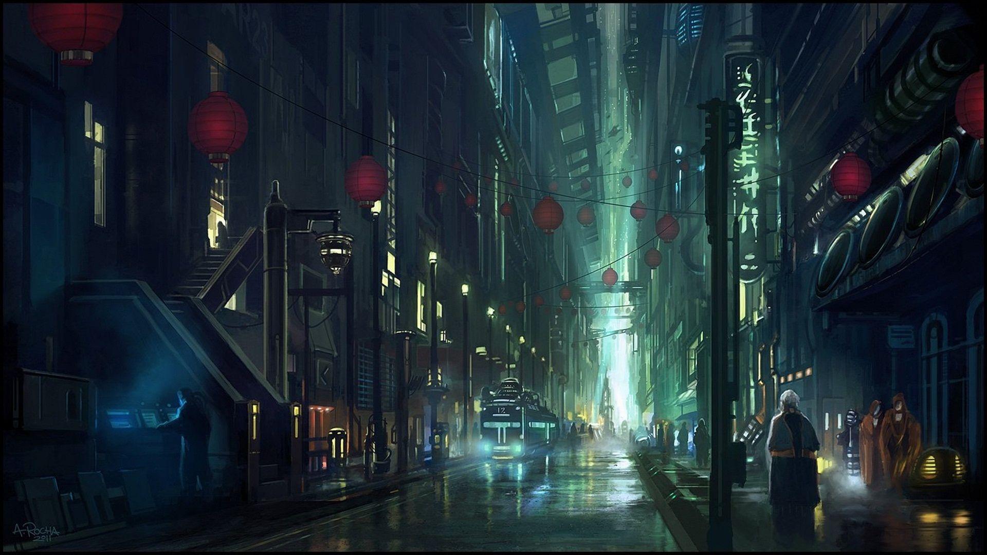 Science Fiction Ville Fond D Ecran Ville Cyberpunk Fond D