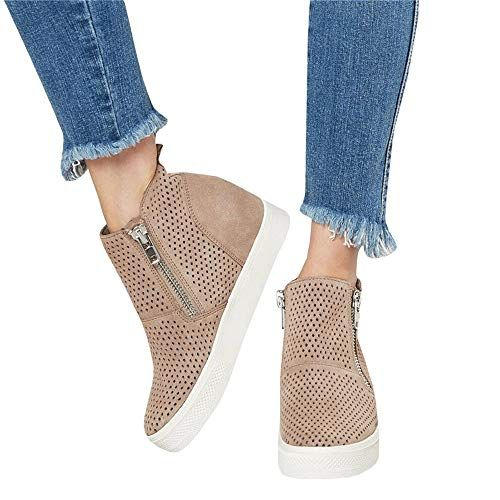 New Womens Casual Shoes Lace Up Wedge Hidden Heel Hollow Out Sandals Plus Size