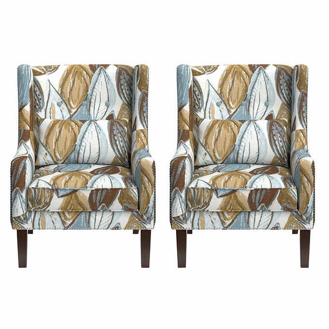 Outstanding Rosario 2 Pack Wingback Fabric Accent Chairs Teal Brown Gmtry Best Dining Table And Chair Ideas Images Gmtryco