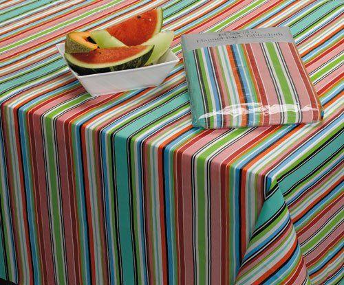 Malibu Stripe Eco Vinyl Tablecloth 52 X 70 Cart Dii Designimports