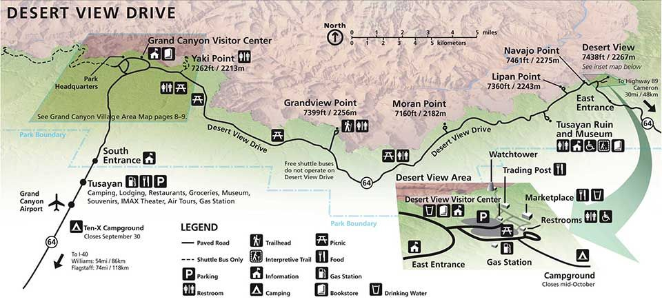 Desert View Drive Map from Grand Canyon Village on the left to