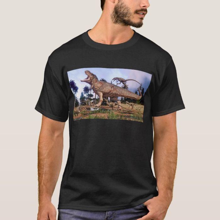Tyrannosaurus Rex Versus Deinonychus T-shirt, Men's, Size: Adult L, Black #tyrannosaurusrex