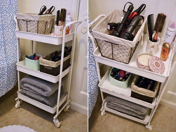 How To Organize Your Apartment Bathroom Via Bymandygirl Unique Small Bathroom Cart Design Inspiration