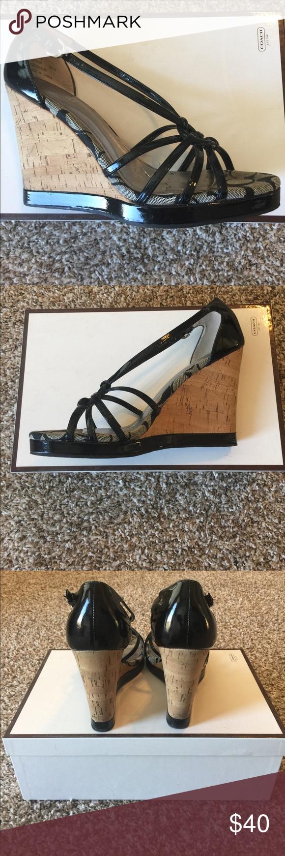 Coach black patent wedges-size 8.5 Coach black patent wedges-size 8.5 worn/good condition Coach Shoes Wedges