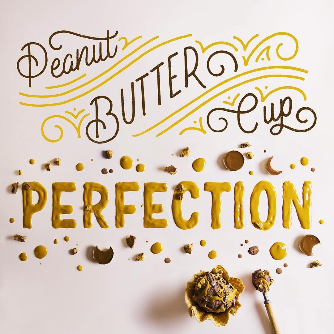 "Lauren Hom on Instagram: ""Is there anything more wonderful than peanut butter and chocolate Here's the third piece from my @coldstone collab with food letterer extraordinaire @beccaclason: Peanut Butter Cup Perfection. If you love food and lettering, Becca's feed is the feed for you. Also seriously, what did women do before the invention of stretchy jeans? #type #typography #lettering #handlettering #foodtype #foodlettering #coldstone #goodtype #typespire #th"