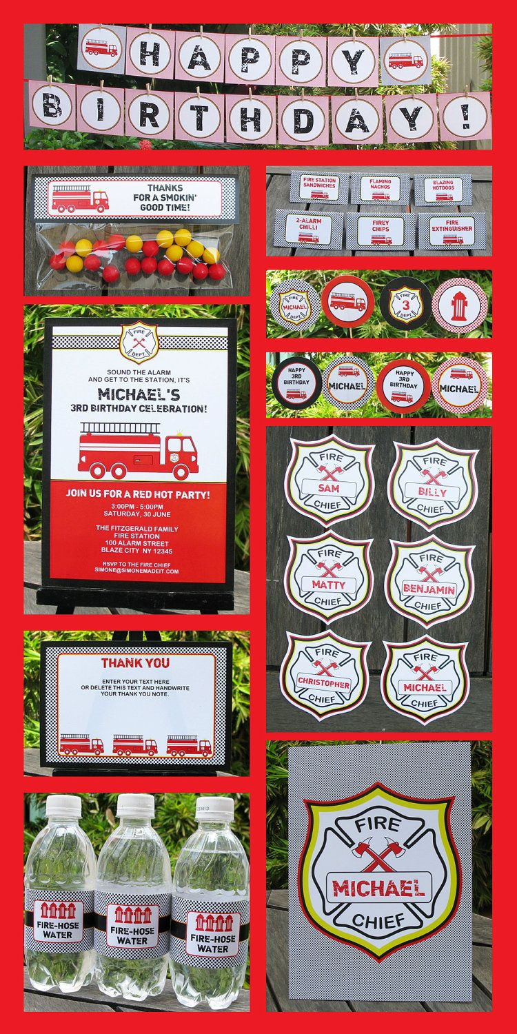 Fireman Party Invitations & Decorations - full Printable Package ...