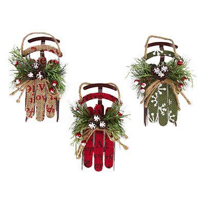 Burlap Sleigh Ornaments, 3-Pack at Big Lots Stuff to Buy Pinterest