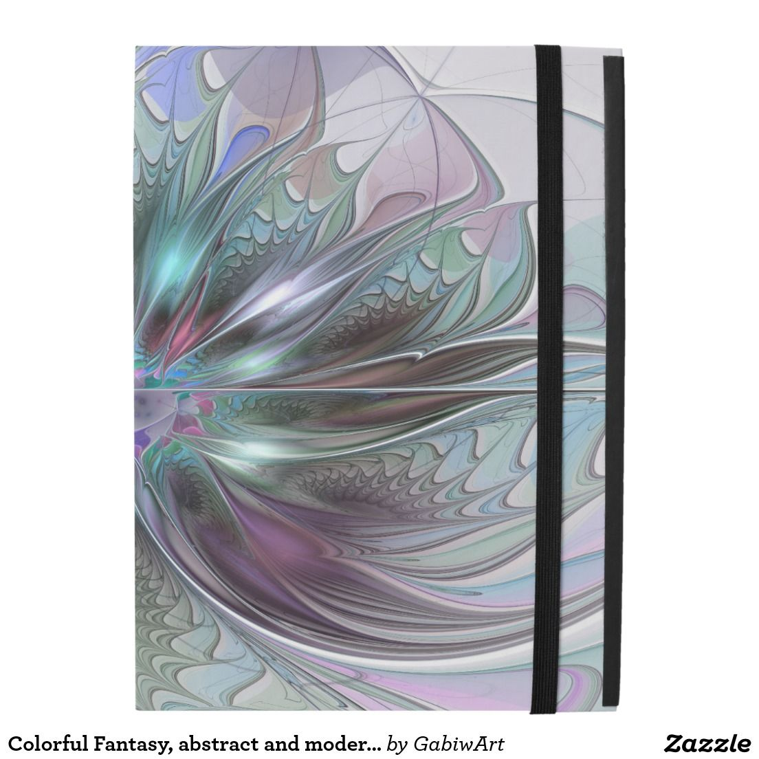 Colorful fantasy abstract modern fractal flower ipad pro