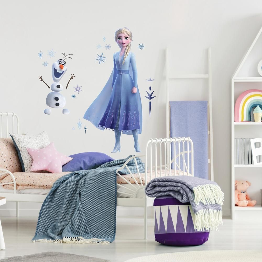 Disney Frozen 2 Elsa And Olaf Giant Wall Decals In 2021 Frozen Girls Bedroom Frozen Themed Bedroom Frozen Theme Room