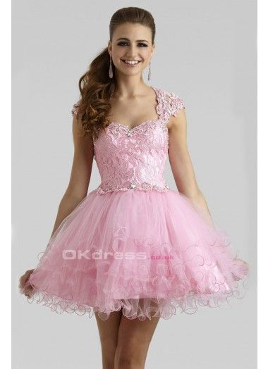 Sweetheart Ball Gown With Rhinestones Straps Short Prom Dresses - by OKDress UK