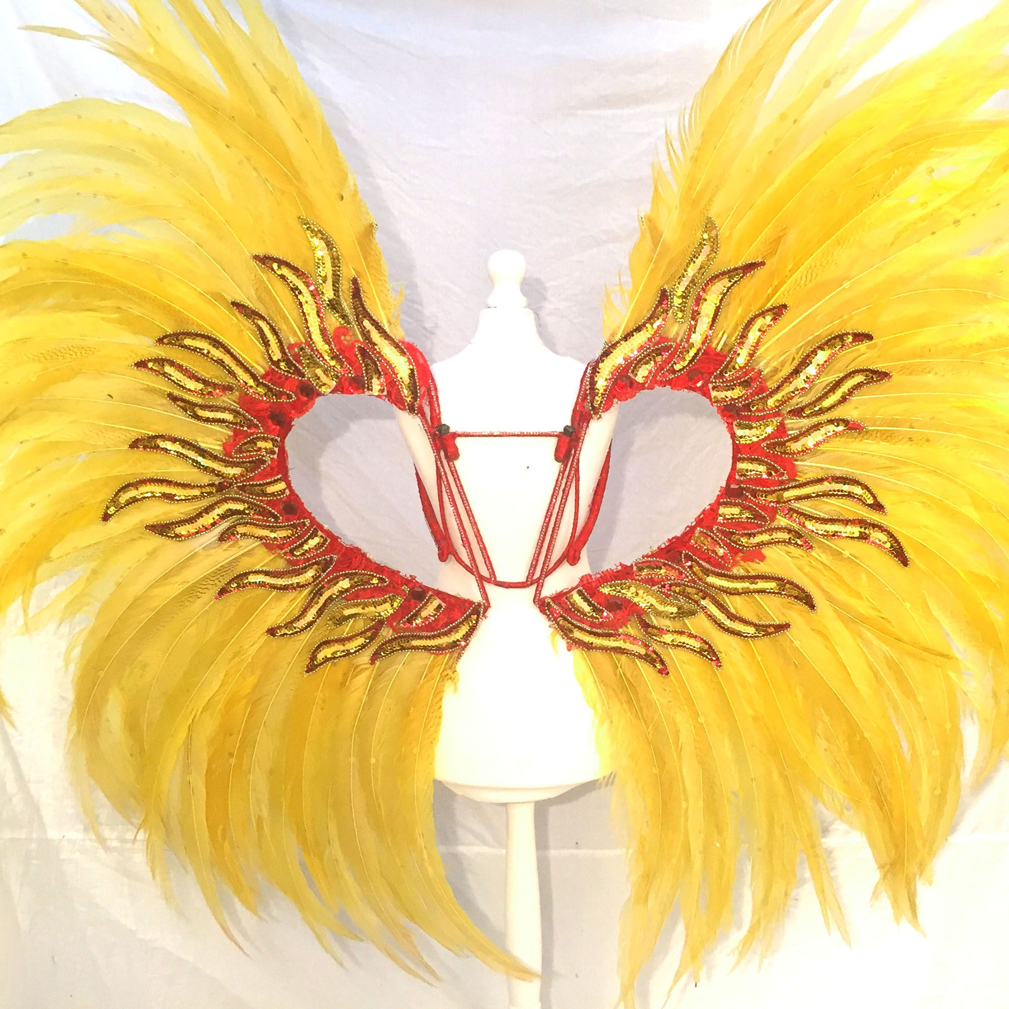 Giant Sun Goddess Angel Wings One-off Luxury Fitness competition Themewear Angel Wings made with decorated yellow silver pheasant  to make your shine like the brightest sun on stage. Decorated with facet AB beads and flames.  Detachable wings to facilitate storage and transport  FREE SHIPPING