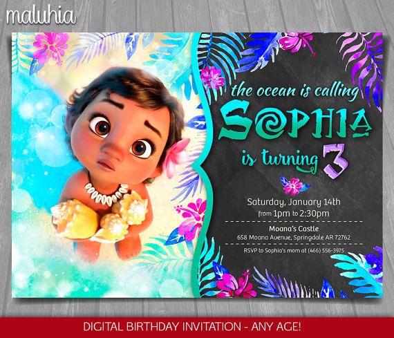 Moana Invitation Disney Invite Birthday