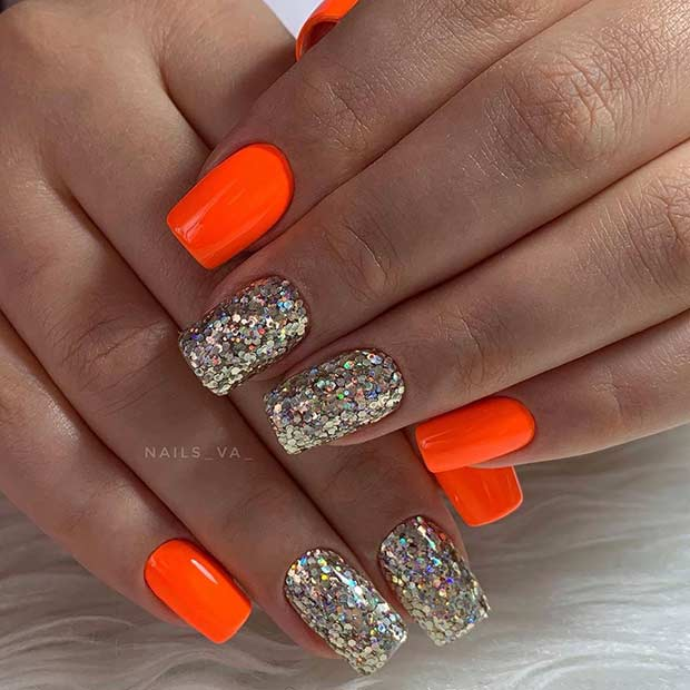 21 Neon Orange Nails And Ideas For Summer Page 2 Of 2 Stayglam In 2020 Neon Orange Nails Orange Nails Orange Nail Designs