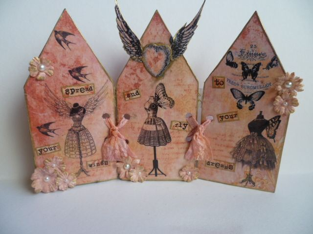 Triptych with digital images and paper from The Gecko Galz and Wild Abandon digital images. Dress forms.