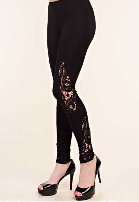 fe4bf102f079b Vocal Soft Crochet Cut Out Leggings - Black | Awesome Pants ...