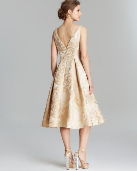 adrianna-papell-gold-dress-sleeveless-brocade-tea-length-formal ...