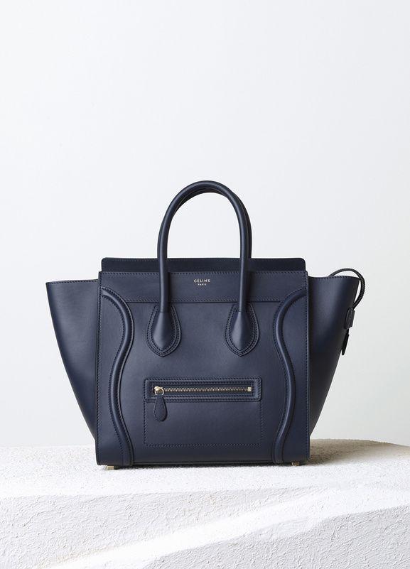 Celine bag   Mini Luggage Handbag in Ink Smooth Calfskin 30 x 30 x 17 cm  (12 x 12 x 7 in) Calfskin and Lambskin lining 165213HSC.33NK 7b6494297c3e9
