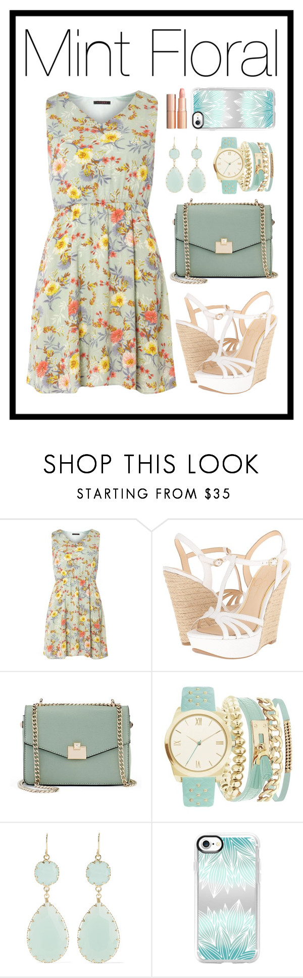 """Mint Spring"" by stella-patricia ❤ liked on Polyvore featuring Tenki, Jessica Simpson, Jennifer Lopez, A.X.N.Y., Kenneth Jay Lane, Casetify and Charlotte Tilbury"