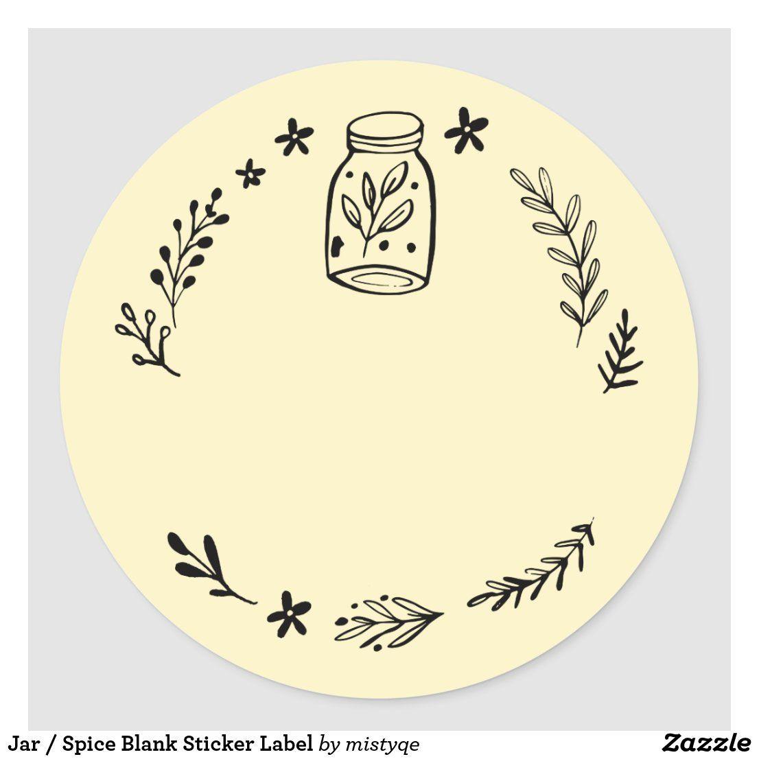 Jar Spice Blank Sticker Label Zazzle Com Seni Buku Seni Inspirasi Seni
