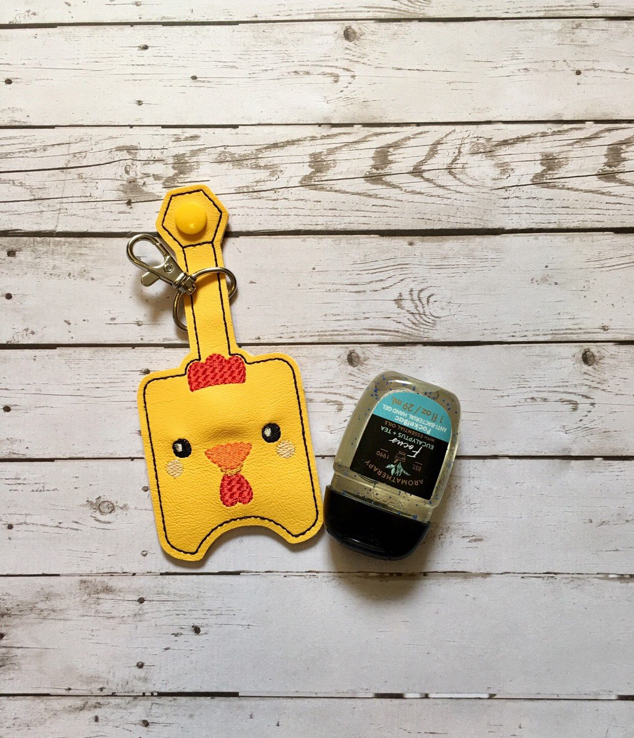 Chicken Lover Hand Sanitizer Holder Keychain Chicken Hand Gel