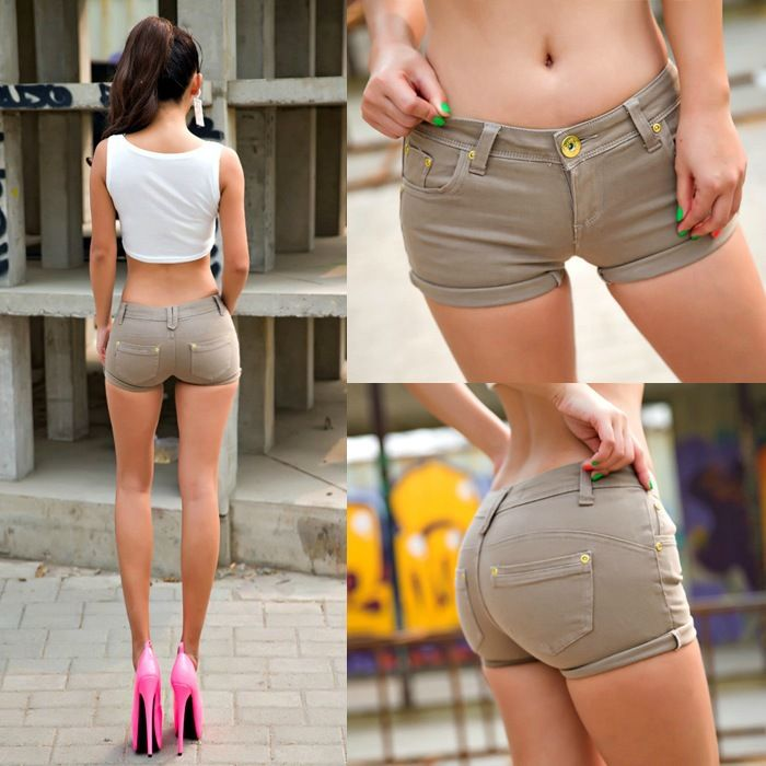 sexy khaki shorts mini booty low waist hot pants women. Black Bedroom Furniture Sets. Home Design Ideas
