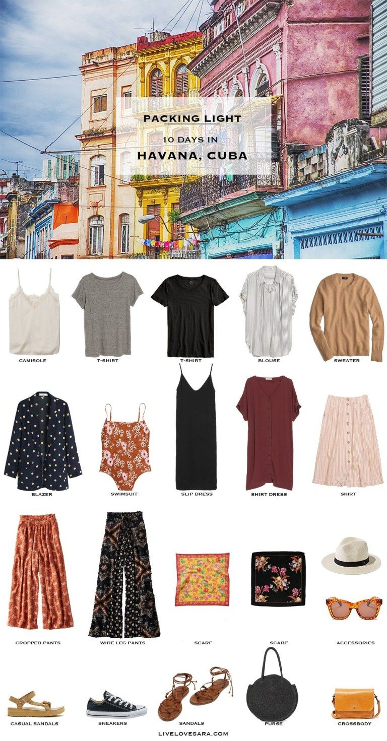 Are you wondering what to pack for Cuba? I have a Havana, Cuba packing list to help you on your way.Head over to my post for what to pack and outfit ideas. Cuba Packing List | What to pack for Havana | #worldtravel #travelcuba #beachvacation #packinglight Packing Light | beach vacation | Travel Light | Travel Wardrobe | Travel Capsule | Capsule | Pack for vacation #travellight #packinglight #travelcapsule #capsulewardrobe #capsule