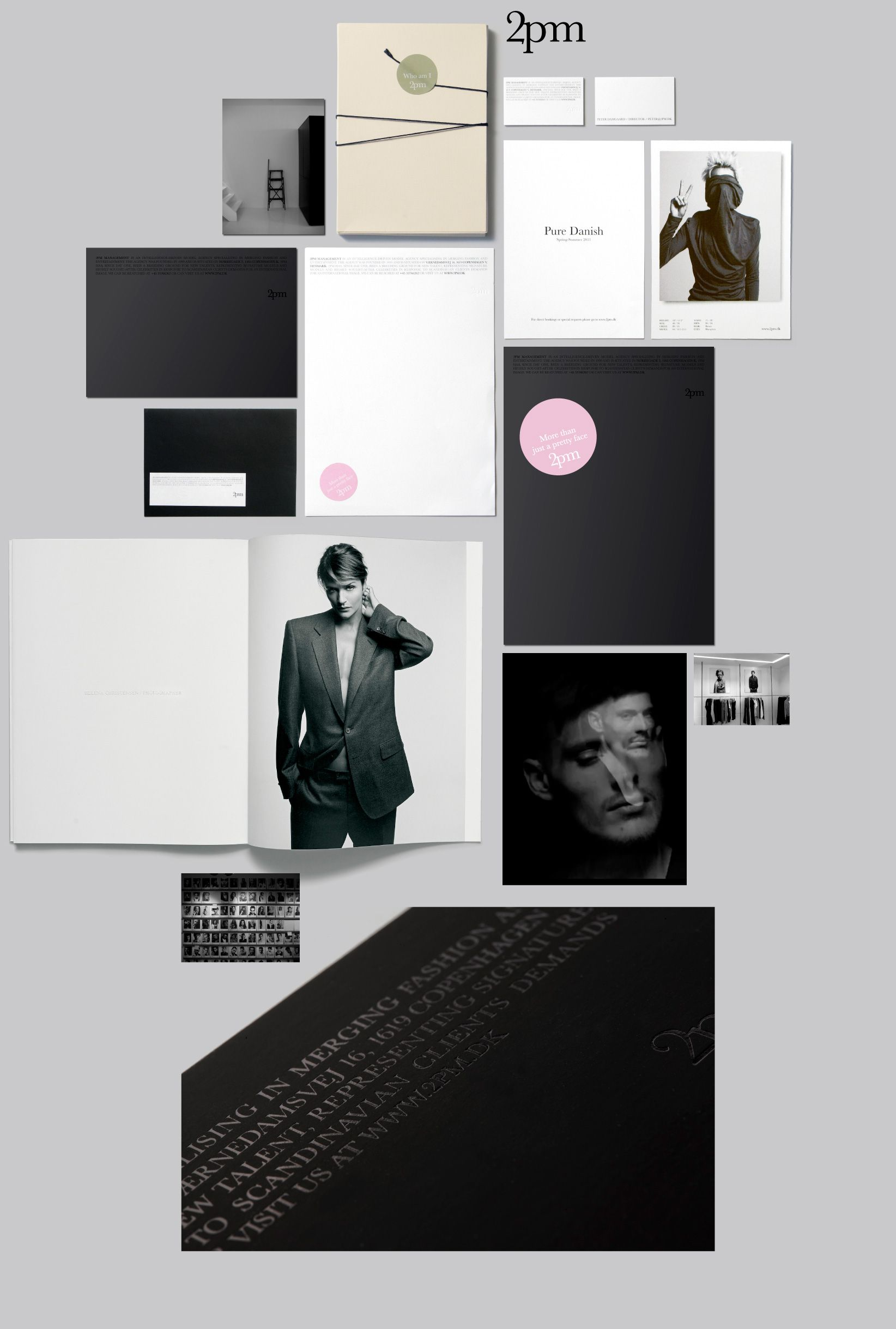2pm is a modelling agency with an intellectual feel. Corporate Visual Identity by Scandinavian Design Lab | #identity #stationary #print | www.scandinaviandesignlab.com