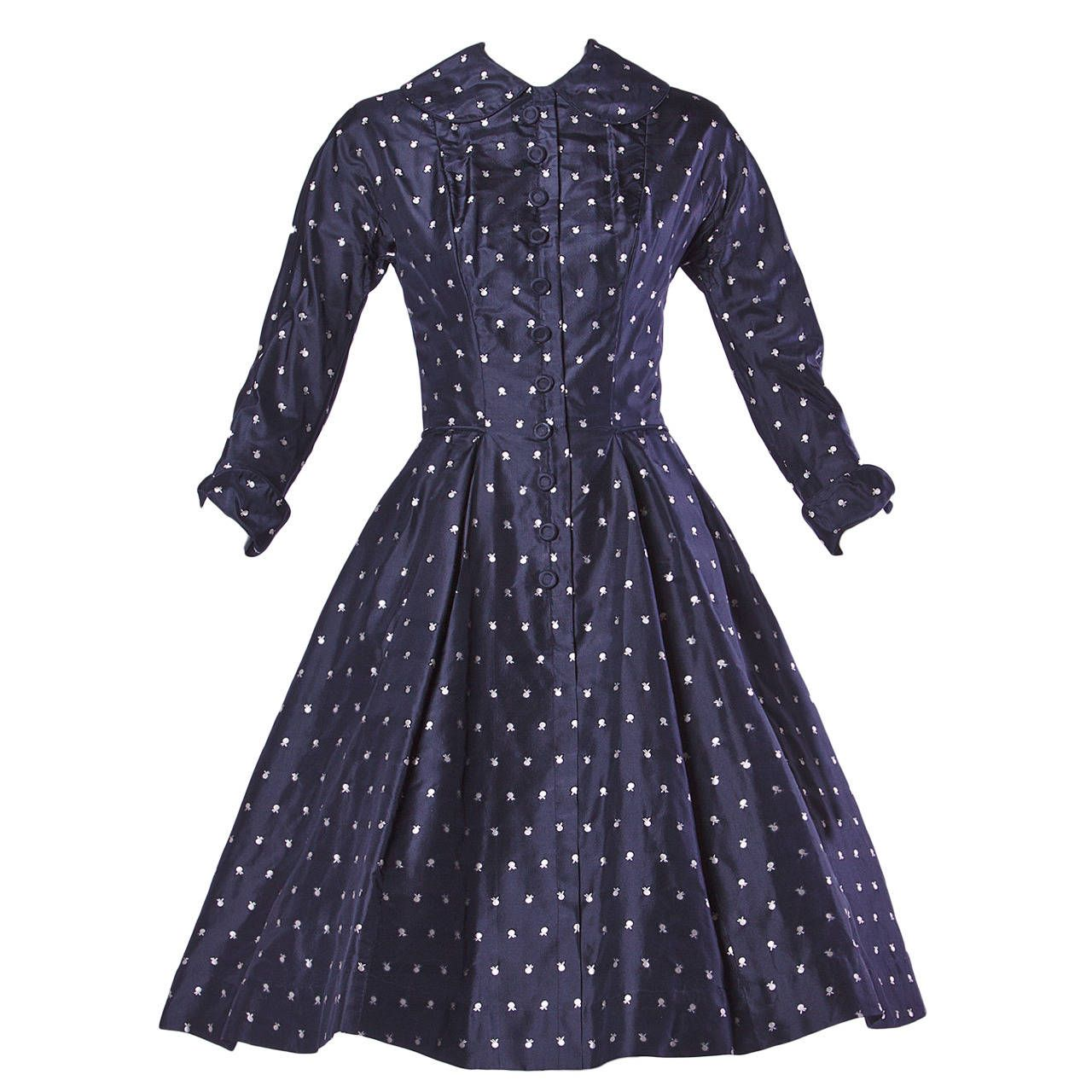 Ceil Chapman Vintage 1950s 50s Fruit Print Navy Silk Dress with Box ...
