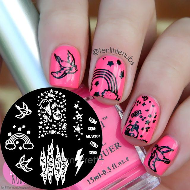 1Pc Nail Art Stamp Template Nail Stamping Image Plate Cute Bird - rainbow template