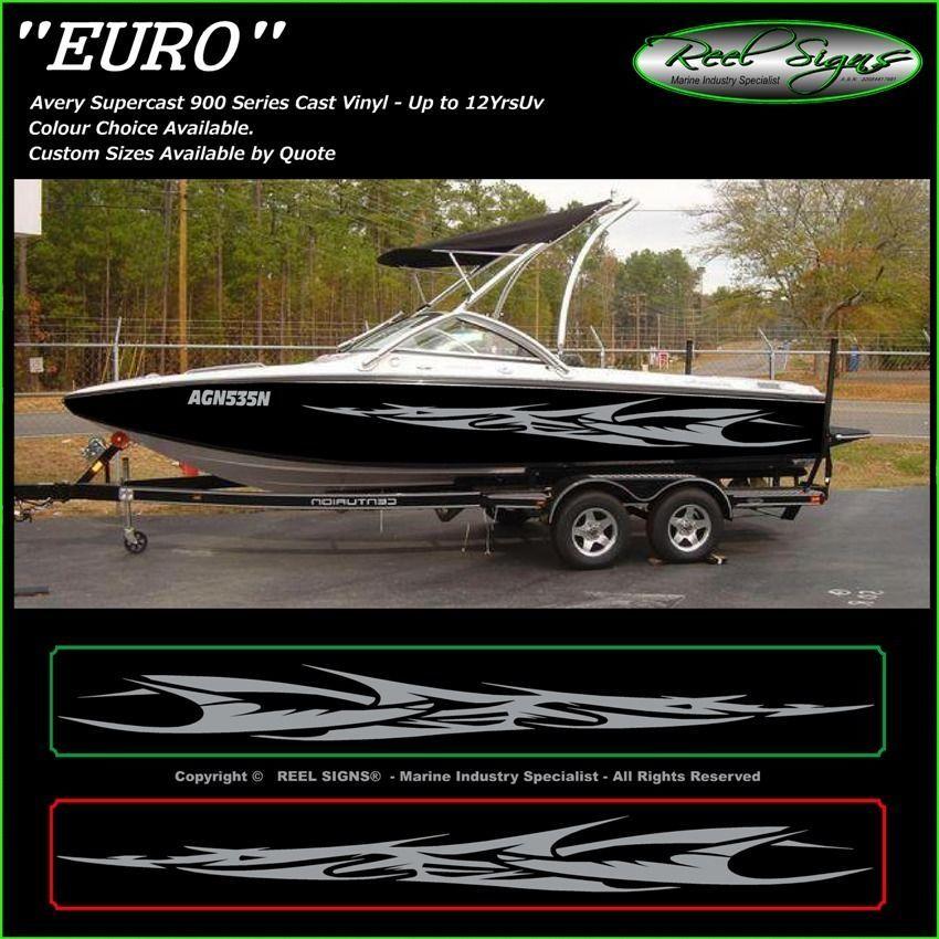 Boat Graphics Decal Sticker Kit Euro Marine Cast Vinyl - Custom vinyl decals boat