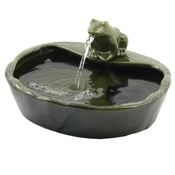 Hyman Ceramic Solar Frog Outdoor Water Fountain Water