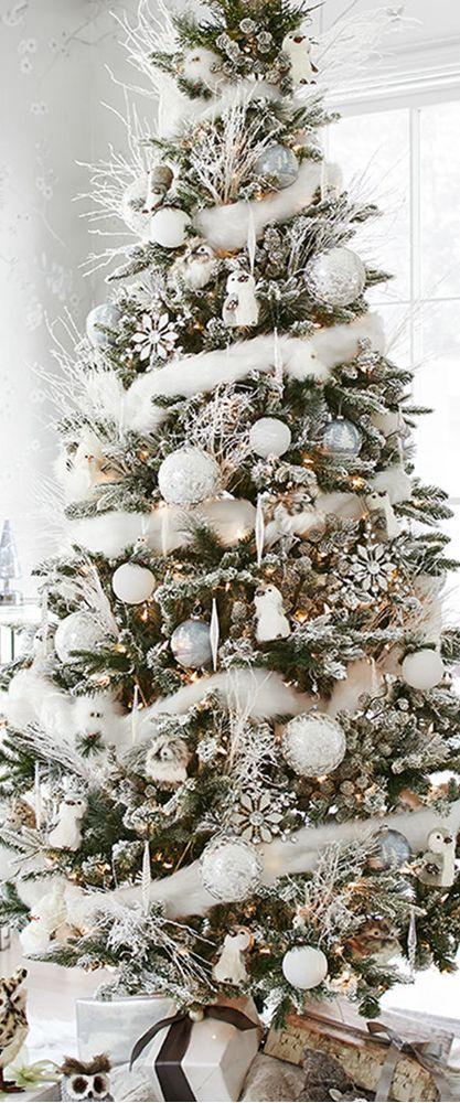 Decoración de pinos de navidad con nieve Christmas tree ideas