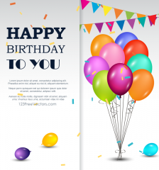Vector Red Confetti And Party Streamers Birthday Background Happy Birthday Template Happy Birthday Greetings Happy Birthday To You