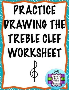 FREE WORKSHEET!  A simple worksheet that will have your students drawing a treble clef in no time at all!  I have written simple step by step directions and opportunities for students to trace the treble clef as well as draw their own.