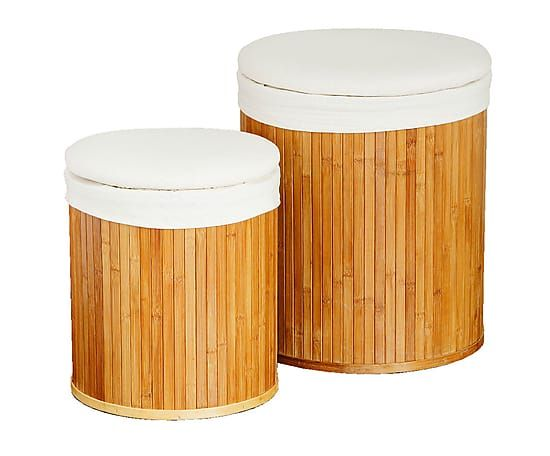 Set de 2 cestas de lavandería de bambú y lona I