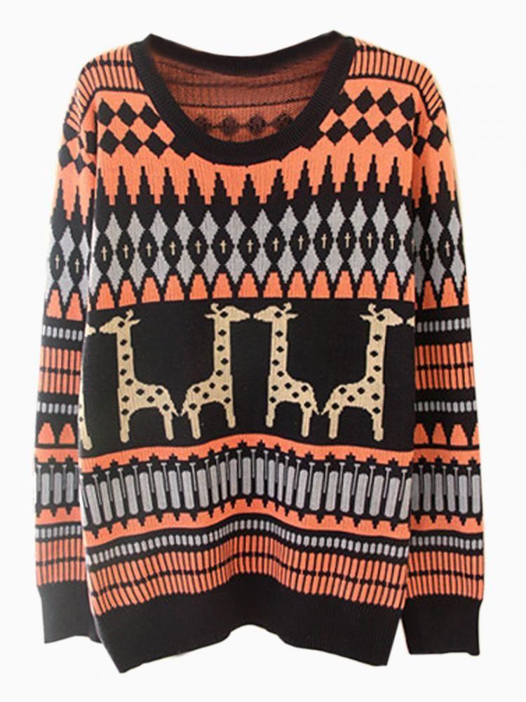 Giraffe Knitting Pattern Jumper : Navy & Coral Giraffe Print Knit Sweater #jumper #animalprint #deer Swea...