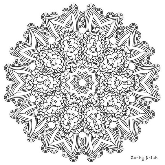 203 printable intricate mandala coloring pages instant download pdf mandala doodling page - Intricate Coloring Pages Kids