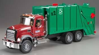 Bruder Toys America 02812 Mack Granite Garbage Truck Red Green 2812 Active Powersports Garbage Truck Trucks Dump Trucks