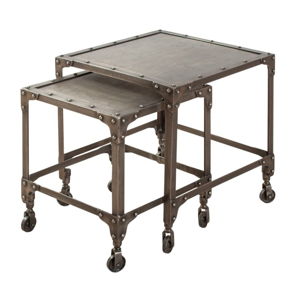 Marvelous Industrial Steel Nesting Side Tables (India)   Overstock Shopping   Top  Rated Coffee,