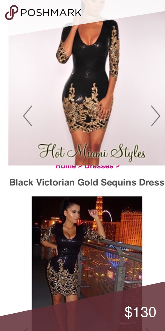 e5cbfe618038d6 Hot Miami Styles Sequin Dress Gorgeous black and gold sequin Victorian gown  by Hot Miami Styles. Worn once for this passed New Year's Eve and got so  many ...