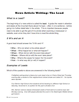 image relating to Free Printable Journalism Worksheets identified as Compose a Guide Worksheet for Journalism Cl - Find out towards