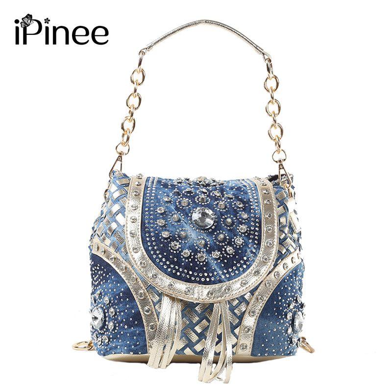 f98130c6eac7 IPINEE Gold   Ladies fashion ladies handbag designer armor style tassels women  shoulder bags PINEE brand name