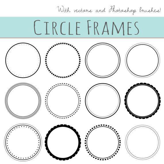 12 Digital Scrapbook Frames // Circle Clip art by thePENandBRUSH ...