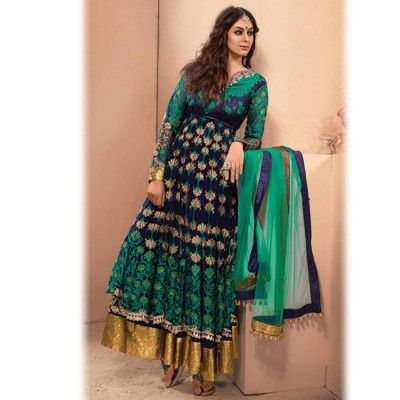 Green and Blue long anarkali suit