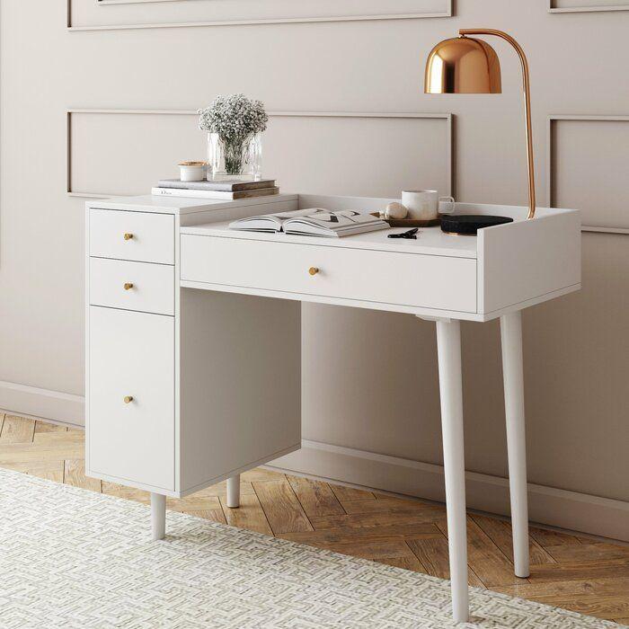 Bost Writing Desk Allmodern White Vanity Desk Makeup Desk Vanity Desk