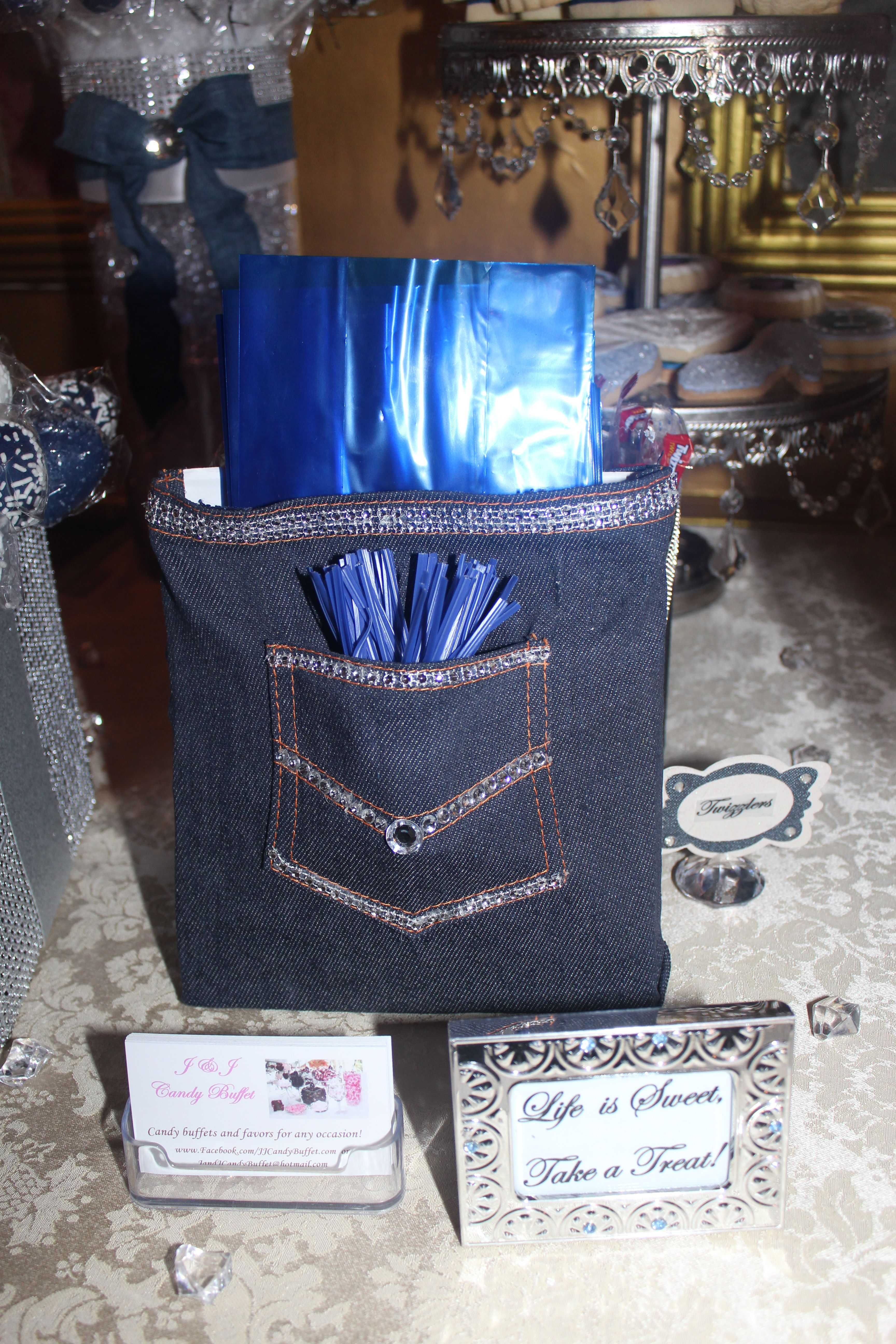 Favor Bags Denim Amp Diamonds Candy Table In 2019
