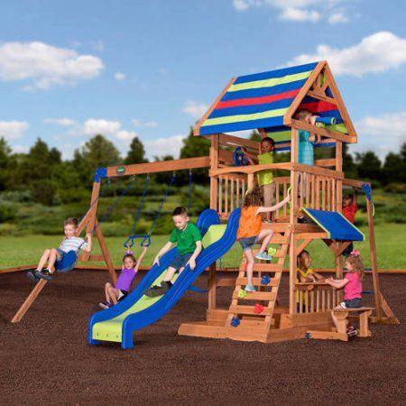 Backyard Discovery Beach Front Wooden Cedar Swing Set - Walmart.com - Backyard Discovery Beach Front Wooden Cedar Swing Set Wants For